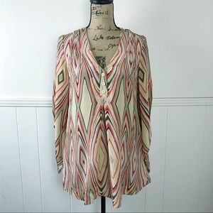 Alice + Olivia 100% Silk Red, Yellow Brown Top